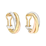 "18k Tri-Colored Gold ""Trinity"" Hoop Earclips"