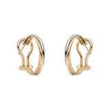 "Thin 18k Tri-Colored Gold ""Trinity"" Hoop Earrings"