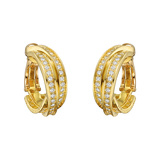 "18k Yellow Gold & Diamond ""Trinity"" Hoop Earrings"