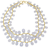 Chalcedony Bead Fringe Necklace