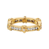 18k Yellow Gold & Diamond Star Band Ring