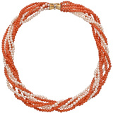Coral Bead & Seed Pearl Torsade Necklace