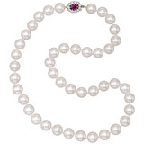 Cultured Pearl Necklace with Antique Ruby & Diamond Clasp