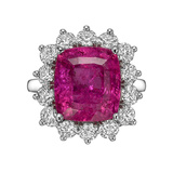 6.99 Carat Rubellite & Diamond Cluster Ring