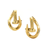 "Polished 18k Yellow Gold ""Bent Nail"" Hoop Earrings"