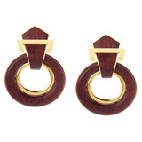 18k Yellow Gold & Bloodwood Doorknocker Earrings
