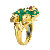 18k Yellow Gold & Enamel Frog Ring