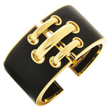 "18k Yellow Gold & Ebony ""Shoelace"" Cuff Bracelet"