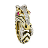 18k Gold, Platinum & Enamel Zebra Ring