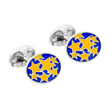 Silver Star Patterned Enamel Cufflinks