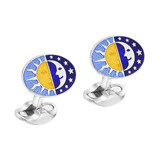 Silver Day & Night Enamel Cufflinks