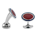 Silver Reddish-Pink & Navy Blue Enamel Oval Cufflinks