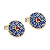 "18k Gold ""Big Ben"" Patterned Enamel Cufflinks"