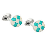 Silver Mint Green & Cream Enamel Harlequin Cufflinks