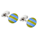 Silver Lime Green & Sky Blue Enamel Striped Cufflinks