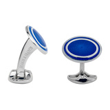 Silver Royal Blue & White Enamel Oval Cufflinks