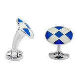 Silver Royal Blue & White Enamel Harlequin Cufflinks