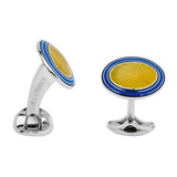 Silver Bright Yellow & Blue Enamel Oval Cufflinks