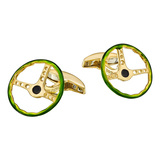 18k Gold & Enamel Vintage Steering Wheel Cufflinks