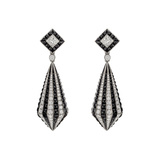 Diamond & Black Onyx Striped Drop Earrings