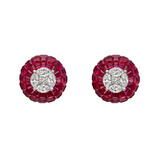 Diamond & Invisibly-Set Ruby Domed Stud Earrings