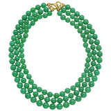 3-Strand Chrysoprase Bead Necklace