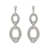 Diamond Oval Link Drop Earrings