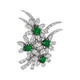 Emerald & Diamond Foliate Spray Brooch