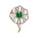 Emerald, Moonstone & Diamond Flower Pin
