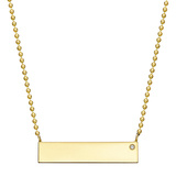 Engraveable 18k Yellow Gold Horizontal Bar Pendant