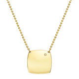 Engraveable 18k Yellow Gold Cushion Pendant