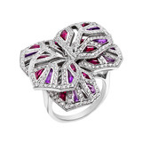 "Diamond, Ruby & Amethyst ""Orchid"" Ring"