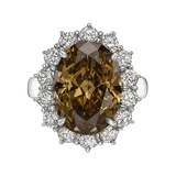 6.51 Carat Fancy Deep Yellow-Brown Diamond Ring