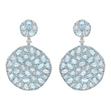 Large Blue Topaz Circle Drop Earrings