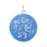 Medium Silver St. Christopher Medal with French Blue Enamel
