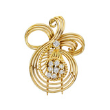Gaucherand 18k Gold & Diamond Wire Scroll Brooch