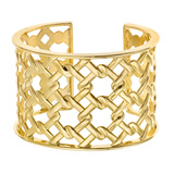 18k Yellow Gold Basketweave Cuff Bracelet