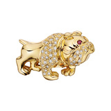 18k Yellow Gold & Diamond Bulldog Pin
