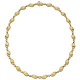 14k Gold & Diamond Fluted Link Necklace