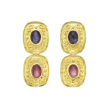 18k Gold, Tourmaline & Iolite Drop Earrings