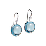 18k White Gold & Blue Topaz Disc Drop Earrings