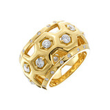 18k Gold & Diamond Wide Honeycomb Band Ring
