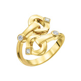 "18k Yellow Gold & Diamond ""Gallop"" Bypass Ring"