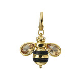 18k Gold, Citrine & Onyx Honey Bee Charm