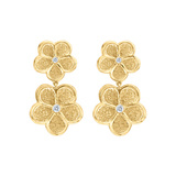 18k Yellow Gold & Diamond Daisy Drop Earrings