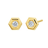 "18k Yellow Gold & Diamond ""Mini B"" Stud Earrings"