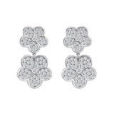 18k White Gold & Diamond Daisy Drop Earrings
