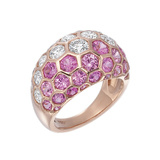 Pink Sapphire & Diamond Honeycomb Band Ring