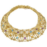 18k Gold Gem-Set Lattice Choker