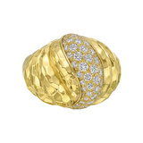 Hammered 18k Yellow Gold & Diamond Ring